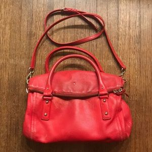 Worn Kate Spade Red Leather handle bag w straps